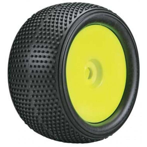 Колеса в сборе (ТРАК 1/8) - CUBIC / XSoft / ЖЕЛТЫЙ диск/ HEX17mm (2шт)