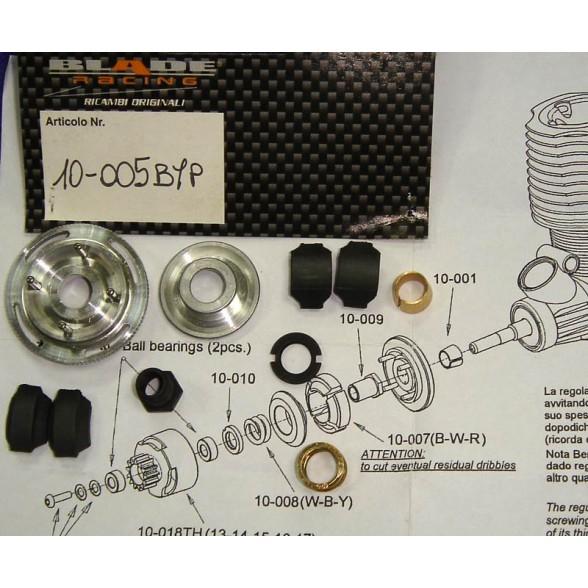 Сцепление регулируемое - Clutch adjustable 4 shoes black, soft spring, vented plus